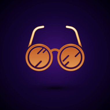 Gold Laboratory glasses icon isolated on dark blue background. Vector Illustration