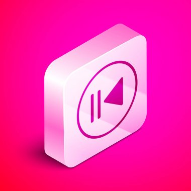 Isometric Rewind icon isolated on pink background. Silver square button. Vector Illustration
