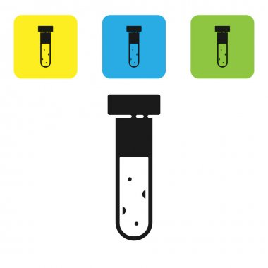 Black Test tube and flask chemical laboratory test icon isolated on white background. Laboratory glassware sign. Set icons colorful square buttons. Vector Illustration