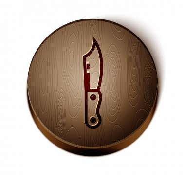 Brown line Military knife icon isolated on white background. Wooden circle button. Vector Illustration