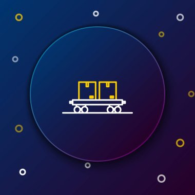 White and yellow line Railway carriage icon isolated on blue background. Colorful outline concept. Vector Illustration