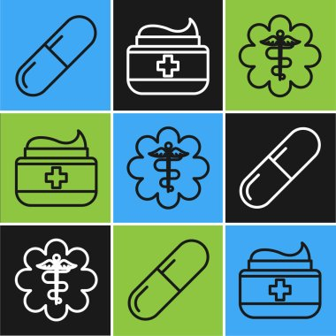 Set line Medicine pill or tablet, Emergency star medical symbol Caduceus snake with stick and Ointment cream tube medicine icon. Vector