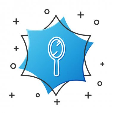 White line Hand mirror icon isolated on white background. Blue hexagon button. Vector Illustration