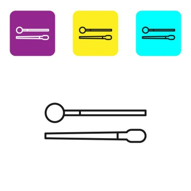Black line Drum sticks icon isolated on white background. Musical instrument. Set icons colorful square buttons. Vector Illustration