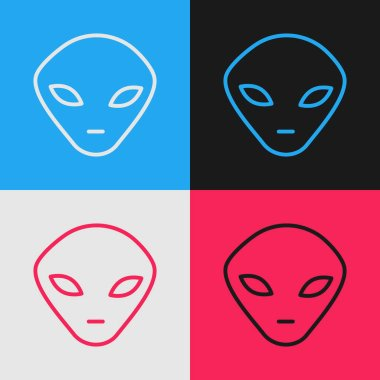 Color line Alien icon isolated on color background. Extraterrestrial alien face or head symbol. Vintage style drawing. Vector Illustration