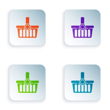 Color Shopping basket icon isolated on white background. Online buying concept. Delivery service sign. Shopping cart symbol. Set icons in square buttons. Vector Illustration