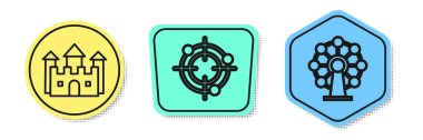 Set line Castle, Target sport for shooting competition and Ferris wheel. Colored shapes. Vector
