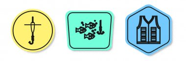 Set line Fishing hook and float, Fishing hook under water with fish and Fishing jacket. Colored shapes. Vector
