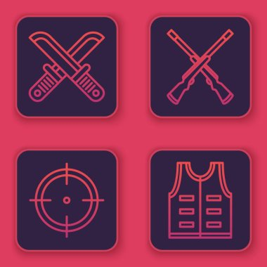 Set line Crossed hunter knife, Target sport for shooting competition, Two crossed shotguns and Hunting jacket. Blue square button. Vector