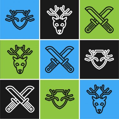 Set line Deer antlers on shield, Crossed hunter knife and Deer head with antlers icon. Vector