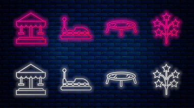 Set line Bumper car, Jumping trampoline, Attraction carousel and Fireworks. Glowing neon icon on brick wall. Vector