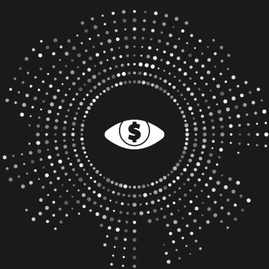 White Eye with dollar icon isolated on grey background. Abstract circle random dots. Vector Illustration
