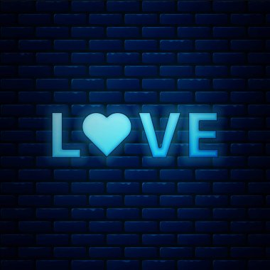 Glowing neon Love text icon isolated on brick wall background. Valentines day greeting card template. Vector Illustration