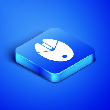 Isometric Computer mouse gaming icon isolated on blue background. Optical with wheel symbol. Blue square button. Vector Illustration