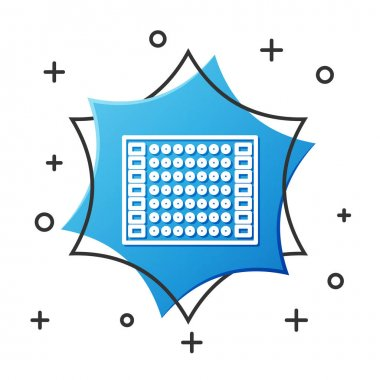 White line Printed circuit board PCB icon isolated on white background. Blue hexagon button. Vector Illustration
