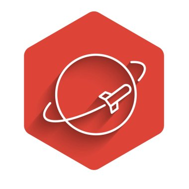 White line Planet icon isolated with long shadow. Red hexagon button. Vector Illustration