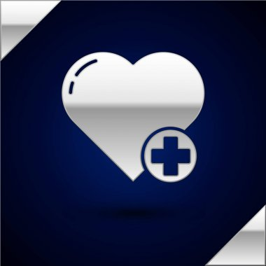Silver Heart icon isolated on dark blue background. Romantic symbol linked, join, passion and wedding. Valentine day symbol. Vector Illustration