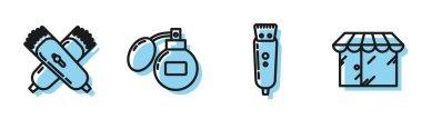 """Картина, постер, плакат, фотообои """"установить линию электрическая стрижка волос или бритва, скрещенные электрические стрижка волос или бритва, после бритья и парикмахерская икона здания. вектор постеры санкт-петербург художник мосты"""", артикул 329856642"""