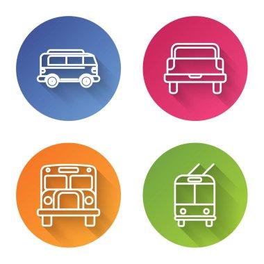 Set line Retro minivan, Pickup truck, School Bus and Trolleybus. Color circle button. Vector