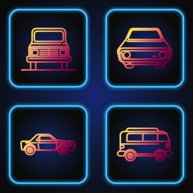 Set line Retro minivan, Sedan car, Car and Car. Gradient color icons. Vector