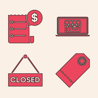 Set Blank label template price tag, Paper check and financial check, Shopping building on screen laptop and Hanging sign with text Closed icon. Vector