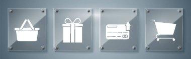 Set Shopping cart, Credit card, Gift box and Shopping basket. Square glass panels. Vector