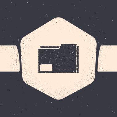 Grunge Document folder icon isolated on grey background. Accounting binder symbol. Bookkeeping management. Monochrome vintage drawing. Vector Illustration