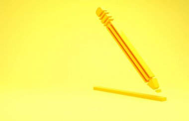 Yellow Pencil with eraser and line icon isolated on yellow background. Education sign. Drawing and educational tools. School office symbol. Minimalism concept. 3d illustration 3D render