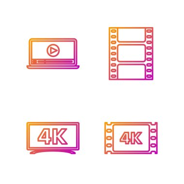 Set line 4k movie, tape, frame , Screen tv with 4k Ultra HD video technology , Online play video and Play Video . Gradient color icons. Vector
