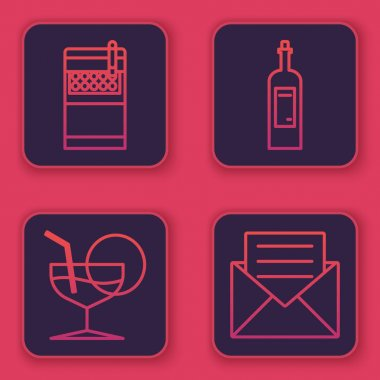 Set line Open cigarettes pack box , Martini glass , Bottle of wine and Envelope with invitation card . Blue square button. Vector icon