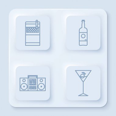 Set line Open cigarettes pack box , Beer bottle , Home stereo with two speakers and Martini glass . White square button. Vector icon