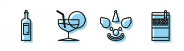 Set line Clown head , Bottle of wine , Martini glass and Open cigarettes pack box icon. Vector icon