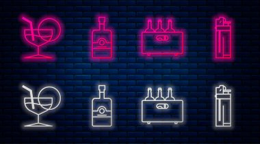 Set line Whiskey bottle , Bottles of wine in a wooden box , Martini glass and Lighter . Glowing neon icon on brick wall. Vector icon