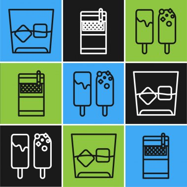 Set line Glass of whiskey and ice cubes , Ice cream and Open cigarettes pack box icon. Vector icon