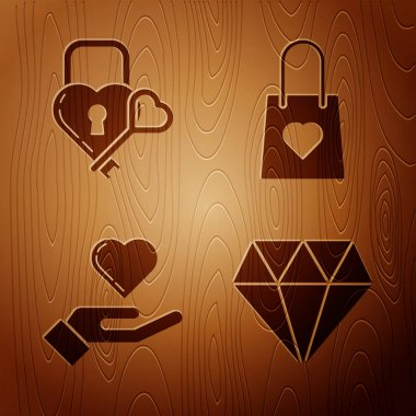 Set Diamond, Castle in the shape of a heart and key, Heart on hand and Shopping bag with heart on wooden background. Vector