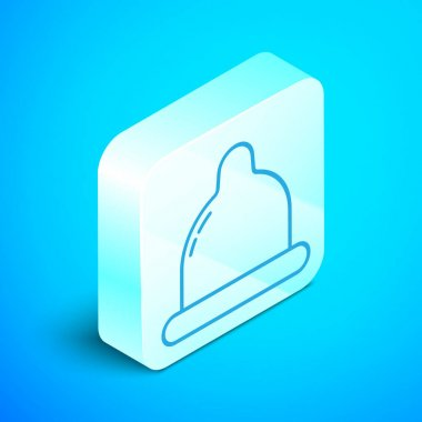 Isometric line Condom icon isolated on blue background. Safe love symbol. Contraceptive method for male. Silver square button. Vector Illustration