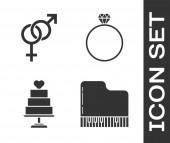 Set Flügel, Geschlecht, Hochzeitstorte mit Herz und diamantenen Verlobungsring. Vektor