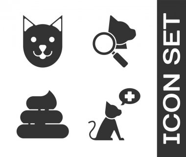 Set Veterinary clinic symbol, Cat, Shit and Veterinary clinic symbol icon. Vector