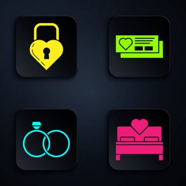Set Bedroom, Castle in the shape of a heart, Wedding rings and Ticket with heart. Black square button. Vector