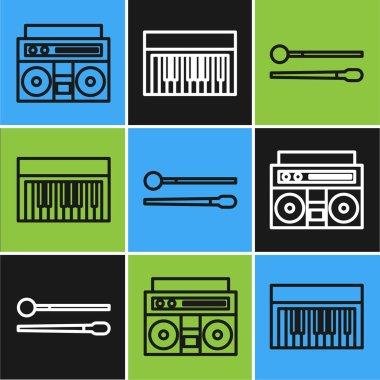 Set line Home stereo with two speakers, Drum sticks and Music synthesizer icon. Vector