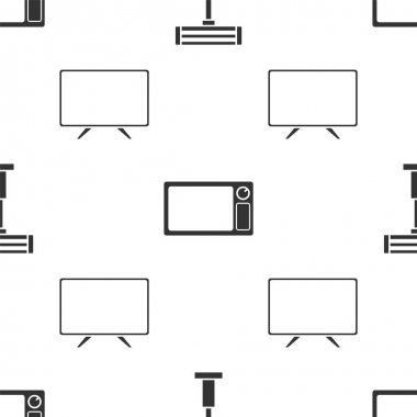 Set Electric heater , Microwave oven and Smart Tv on seamless pattern. Vector
