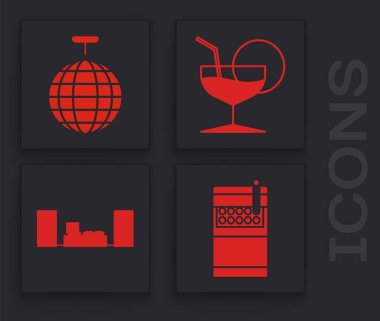 Set Open cigarettes pack box , Disco ball , Martini glass  and Home stereo with two speakers  icon. Vector icon