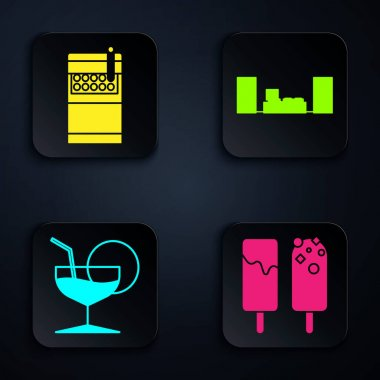 Set Ice cream , Open cigarettes pack box , Martini glass  and Home stereo with two speakers . Black square button. Vector icon