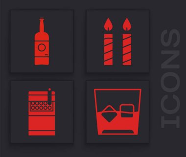 Set Glass of whiskey and ice cubes , Beer bottle , Birthday cake candles  and Open cigarettes pack box  icon. Vector icon