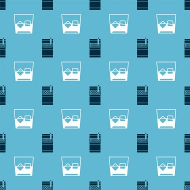 Set Open cigarettes pack box  and Glass of whiskey and ice cubes  on seamless pattern. Vector icon