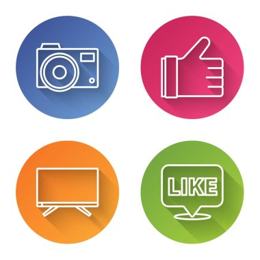 Set line Photo camera, Hand like, Smart Tv and Like in speech bubble. Color circle button. Vector