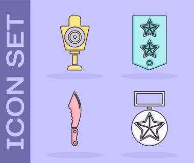 Set Military reward medal , Human target sport for shooting , Military knife  and Chevron  icon. Vector