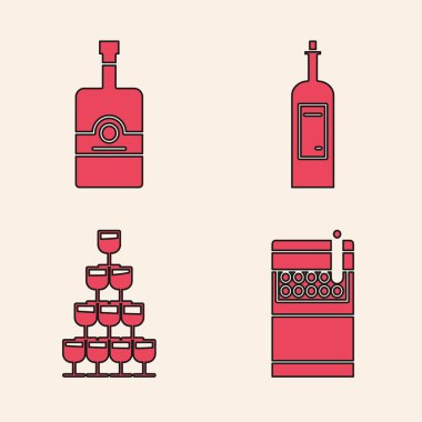 Set Open cigarettes pack box , Whiskey bottle , Bottle of wine  and Wine glasses stacked in a pyramid tower  icon. Vector icon