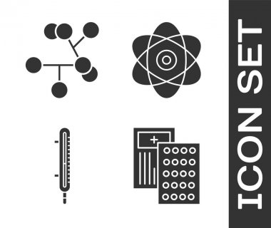 Set Pills in blister pack, Molecule, Meteorology thermometer measuring and Atom icon. Vector