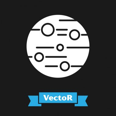 White Planet Mars icon isolated on black background. Vector Illustration